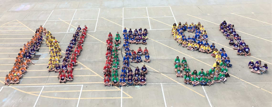 Northview students spell out NES!