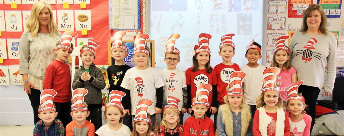Mrs. Wilson's kindergarten class celebrating Dr. Seuss' birthday!