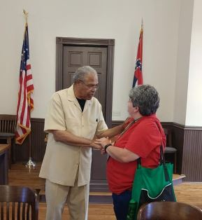 Wendy Rogers and Reverend Wheeler Parker in the Sumner, MS courthouse.